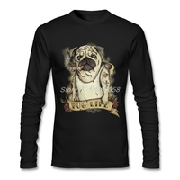 2017 Letni Mężczyzna Koszula Mops Życie Osobowości Z Długim Rękawem O Neck Tee Koszulki Bawełna Organiczna Najniższa Cena T shirt Mężczyzn