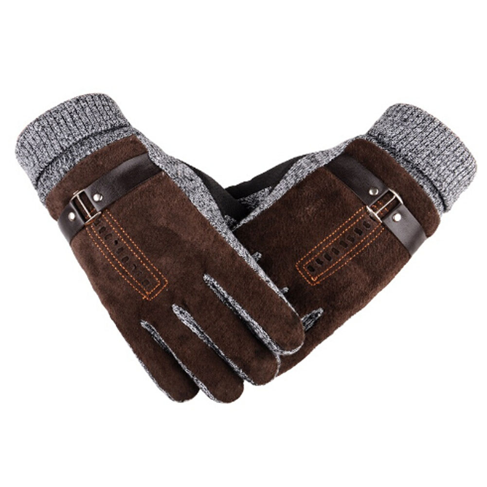 Mens leather kid gloves - Pigskin Gloves High Quality Winter Thicken Fleece Warm Men S Leather Gloves For Men Mittens Long Gloves