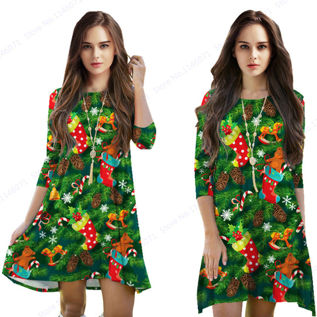 green christmas tree sport tennis dress for womens red christmas stocking dresses autumn winter three quarter - Green Christmas Dress