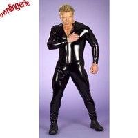 Frete grátis plus size homens wetlook macacão, xxl preto masculino zentai bodysuit para o partido de halloween e clubwear catsuit