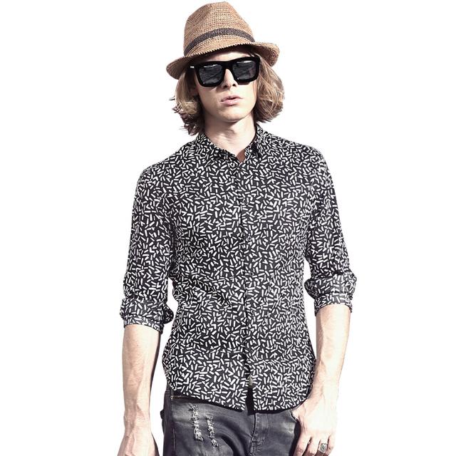 Geométrica Impresso Camisa 2016 Primavera Camisa Casual Slim Fit Camisas Sociais Homens Moda Manga Comprida Turn-Down Collar Homens's Camisa