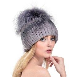 2016 New Women Real Rabbit Fur Hat With Big Silver Fox Fur Pom Poms Top Beanies Natural Elastic Rex Rabbit Fur Cap LH350