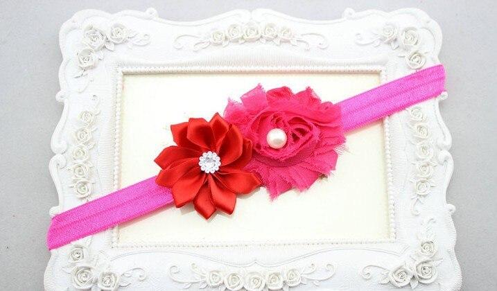 50 шт./лот мини-цветок из атласной ленты с жемчугом широкая головная повязка и мелкие цветы из шифона