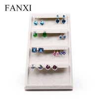 Free Shipping High Grade FANXI Creamy White Earring Ear Stud Display Wrapped With Thin Linen Fabric