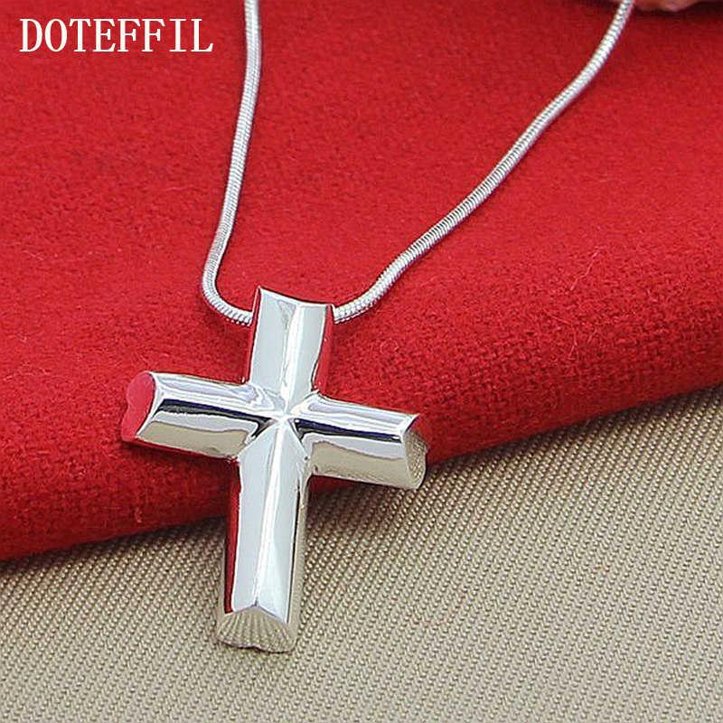 Genuine 925 Silver Color Cross Necklace Fashion Jewelry Pendant Sanke Chian Necklace Hot Sale