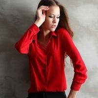 1PC Women Chiffon Blouse Long Sleeve Shirt Women Tops Office Lady Blusas Femininas Camisas Mujer