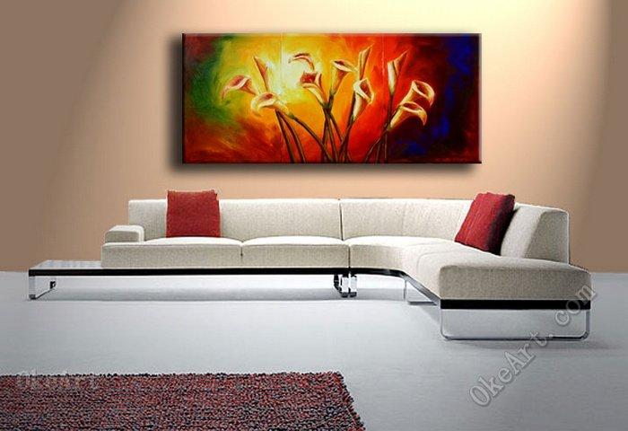Lirios cala pintura al óleo sobre lienzo decoración de la pared del ...