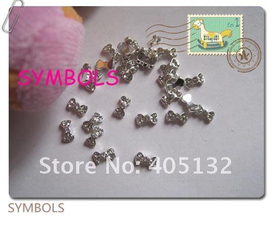 MD-62 3D 50 шт./пакет маленький серебряный лук кристалл горный хрусталь металлическая отделка ногтей милые Outlooking украшения для ногтей