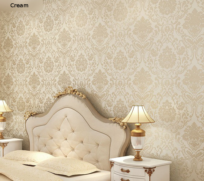 Aliexpress Non Woven Embossed Bedroom Wallpaper Modern Damask White Wallcovering Clic Wall Papers For Living Room From