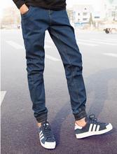 Горячая 2016 высокое качество мужчины шаровары парни темно-синий джинсы мужские штаны упругой ноги мужчины хип-хоп эластичный пояс