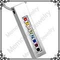 Mjd8454 puente del arco iris de colores Crystal tornillo urna Memorial de cremación cenizas colgante en forma de cubo Funeral collar de la joyería