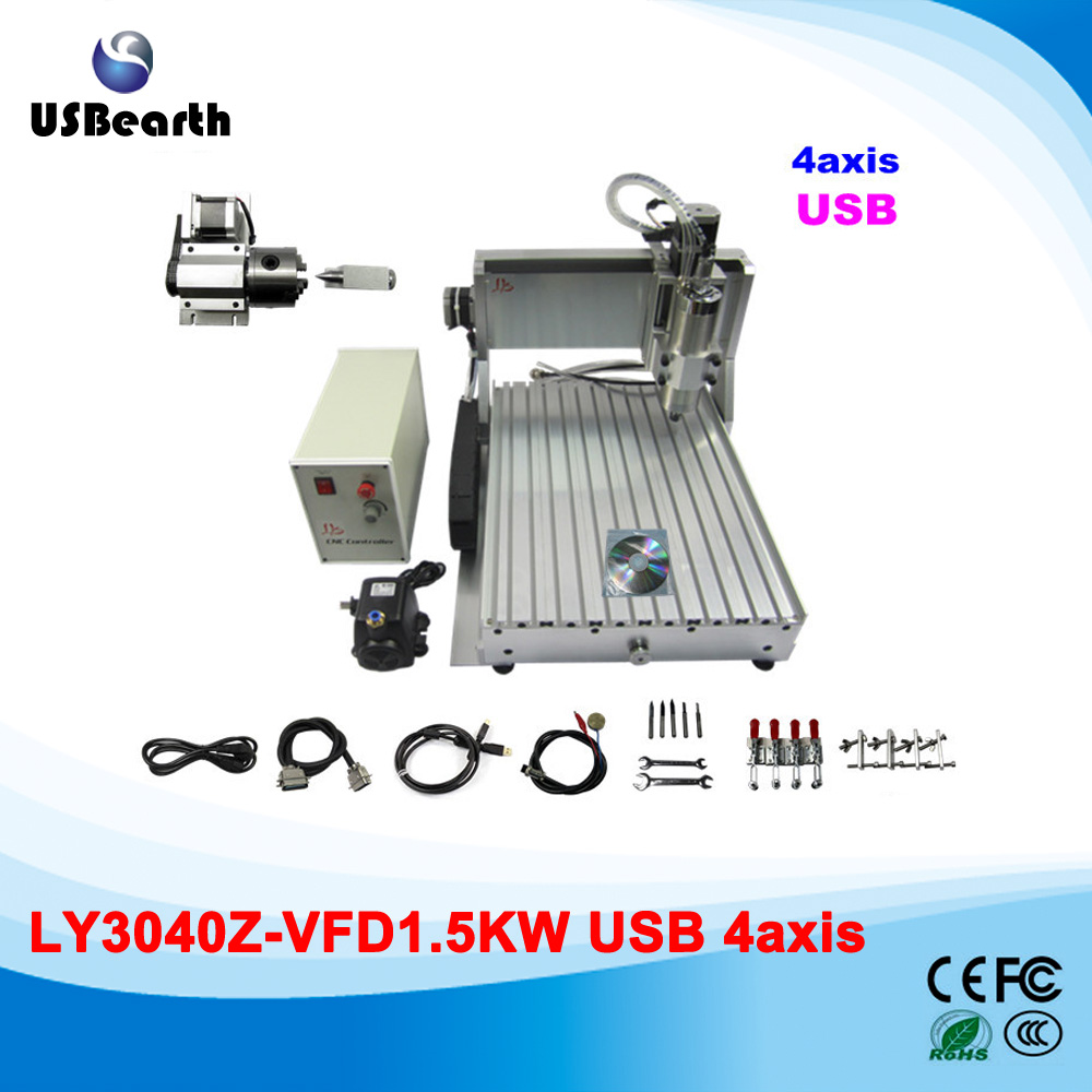 Russia no tax usb port Hot Sale Mini CNC Router 3040z-s1.5kw 4 Axis CNC Milling Machine with Factory Price russia tax free cnc woodworking carving machine 4 axis cnc router 3040 z s with limit switch 1500w spindle for aluminum