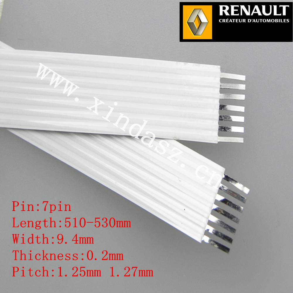 7pin 1.27mm pitch 51-53cm 520mm long 9.4mm width airbag ffc cable for renault megane II with free shipping emblem