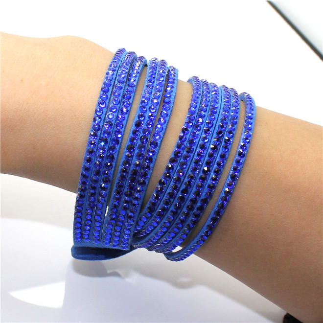 Fashion 6 Layer Wrap Bracelets Slake Leather Bracelets With Crystals Couple Jewelry womans bracelet 9