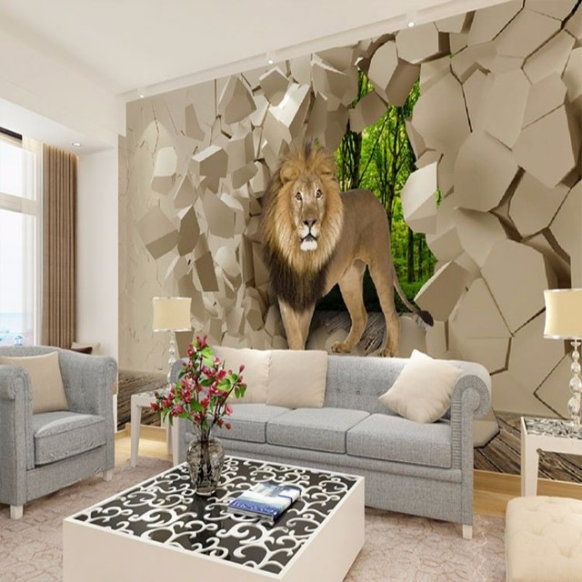 Beibehang Lion From Stone Wall Background Graphic Murales Wallpaper For Boys Living Room Papel De Parede