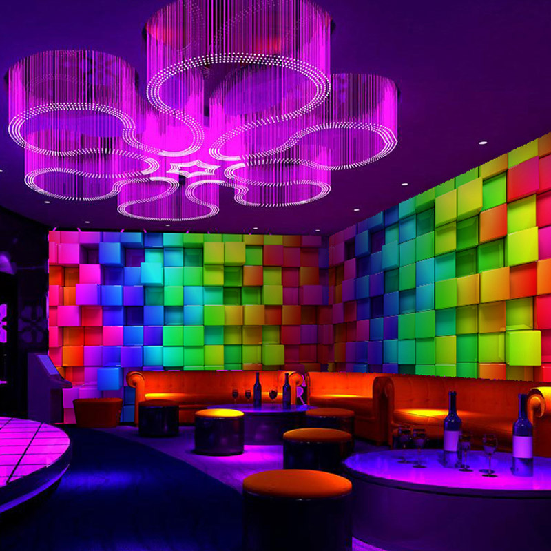 Online Shop Colorful 3D Stereo Cube Wall Paper For Night Club House Decor KTV Living Room Wallpaper Custom Size Mural Non Woven