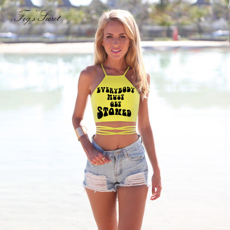 Women Tight Convenient Tank Top Vest Polyester Yellow Letter Young Color Tanks Tops For Girls Beach Workout -In Camis From Womens Clothing -6727