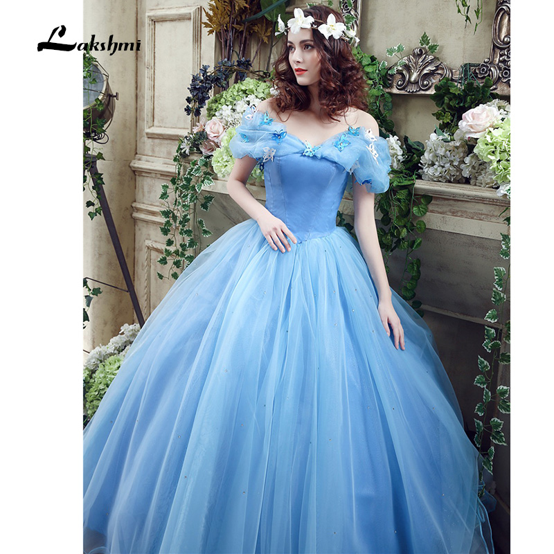 Real Photo Cheap Princess Blue Boat Neck Wedding Dress Ball Gown ...