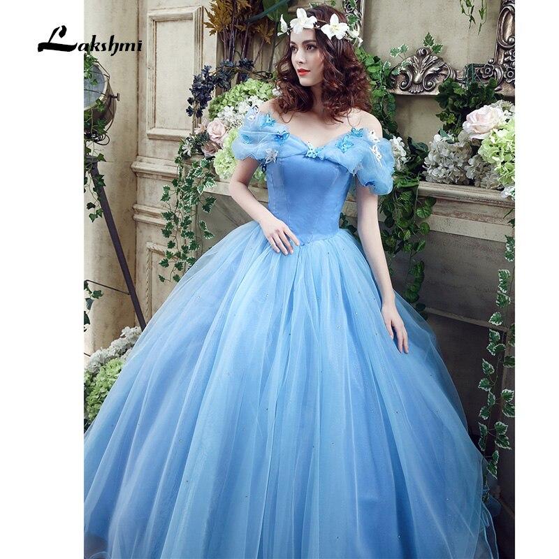 Real Photo Cheap Princess Blue Boat Neck Wedding Dress Ball Gown ...