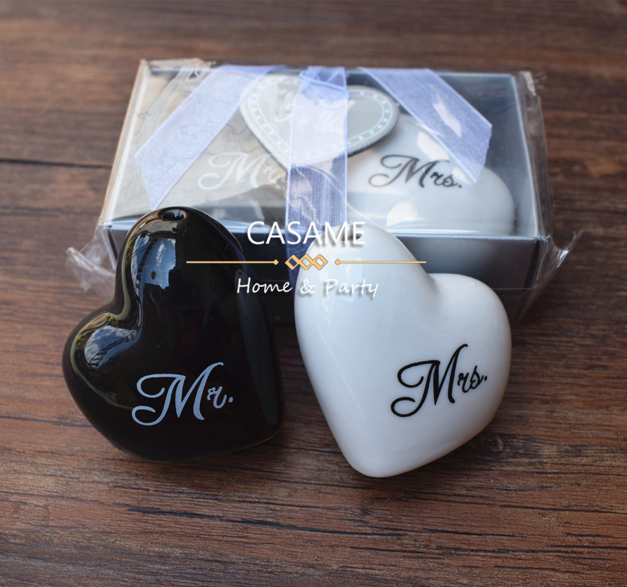 love heart  Mr & Mrs ceramic salt and pepper shaker xxoo round square 100pcs 50sets wedding souvenirs party favors gift  guest