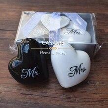 Love heart Mr& Mrs керамический шейкер для соли и перца xxoo круглый квадратный 100 шт 50 наборов Свадебные сувениры вечерние сувениры подарок для гостей
