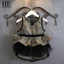 ОН Привет Наслаждайтесь девочек одежда летние комплекты девушки комплект одежды без рукавов Плед одежды + короткие брюки 2 шт. детская одежда