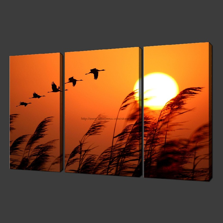 Birds Sunset Set Of Three Canvas S Picture Wall Art Oil Paintings ...