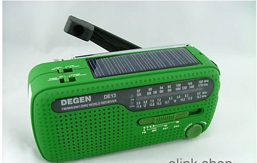 2pcs/lot DEGEN DE13 FM/ AM/ SW Hand Cranking + Solar Power Radio