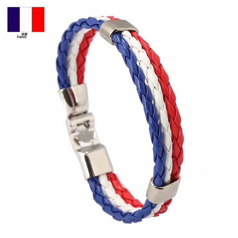 Euro Cup Spain Italy France Russia National Flag Surfer Leather Bracelet Men Women PU Leather Wrap Bracelets Wristband