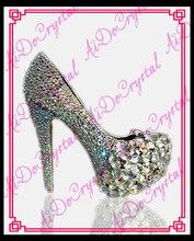 Aidocrystal Bridal Crystal Platform Shoes AB color Glitter Rhinestone Party Prom wedding high heels