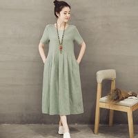 2019 Cotton Linen New Summer O neck Short Sleeve Dress Light Green A line Casual Woman Cloth Dress Flax Holiday Clothes