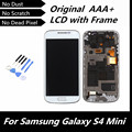 100% probados alta calidad blanco LCD para Samsung Galaxy S4 mini I9190 i9192 i9195 Display LCD táctil con marco de montaje