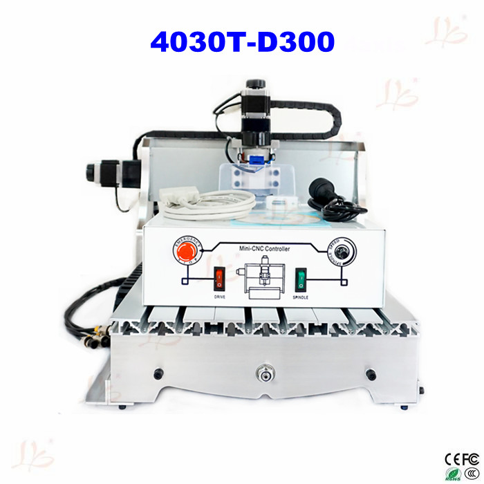 free shipping  CNC 4030T-D300 300w spindle Router Engrave mini cnc Milling Machine cnc 5axis a aixs rotary axis t chuck type for cnc router cnc milling machine best quality