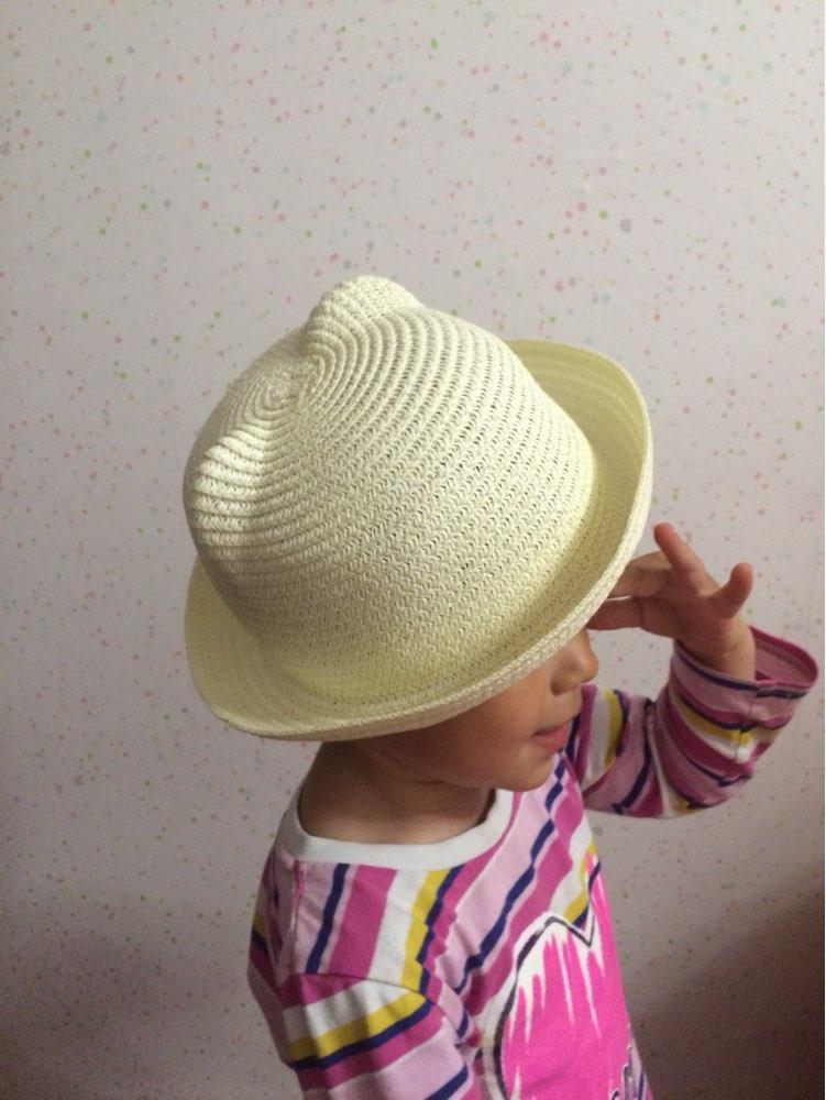 Детская соломенная шляпка с ушками с Алиэкспресс