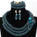 Awesome Nigerian Wedding Beads Turquoise Crystal Jewelry Set Black Seed Beads Queen Lady Party Jewelry Set Free shipping WA957