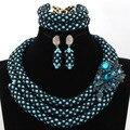 Impresionante Boda Nigeriano Perlas Turquesa Granos de la Semilla de Cristal Joyería Set Negro WA957 Reina Señora Joyería Del Partido Fijó El Envío libre