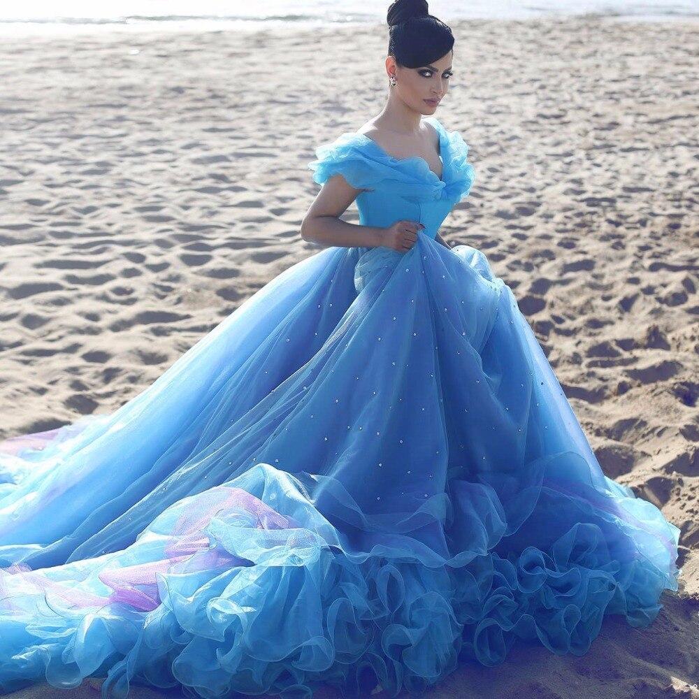 Royal Blue Wedding Dresses Princess 2017 Bridal Gowns Cinderella ...