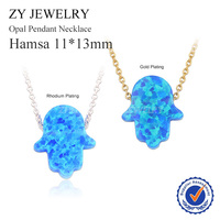 Gold Plated Silver Plated Necklace High Quality 11x13mm Blue Hamsa Opal Necklace For Women