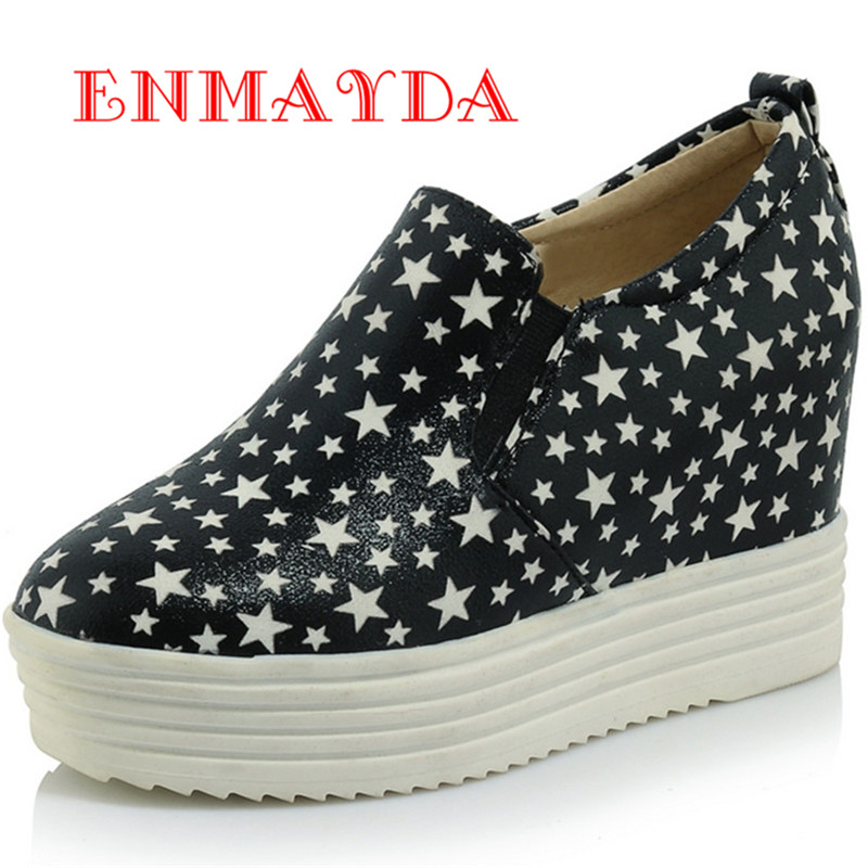 ENMAYES Fashion Round Toe Breathable Height Increasing font b Women b font Muffin Bottom Shoes Lighted