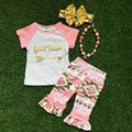 New arrival Girls boutique Summer clothes baby girls clothing girls short sleeves pink Azect capri with accessories