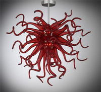 Simples Projetado Energy Saving LED de Cristal De Vidro Soprado Mini Barato Lustre Vermelho