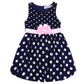 2017 New Style Summer Dresses Kids Clothes Toddler Girls Princess Dress Sleeveless Floral Polka Dot Bowknot Baby Girl Dress 68