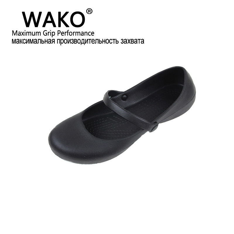 WAKO Professional Chef Work Anti slip EVA Surgical Shoes Women Cook Kitchen Shoes Black Shoes For