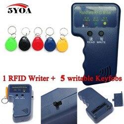 Handheld 125KHz EM4100 RFID Copier Writer Duplicator Programmer Reader + 5pcs EM4305 Rewritable ID Keyfobs Tags Card T5577 5200