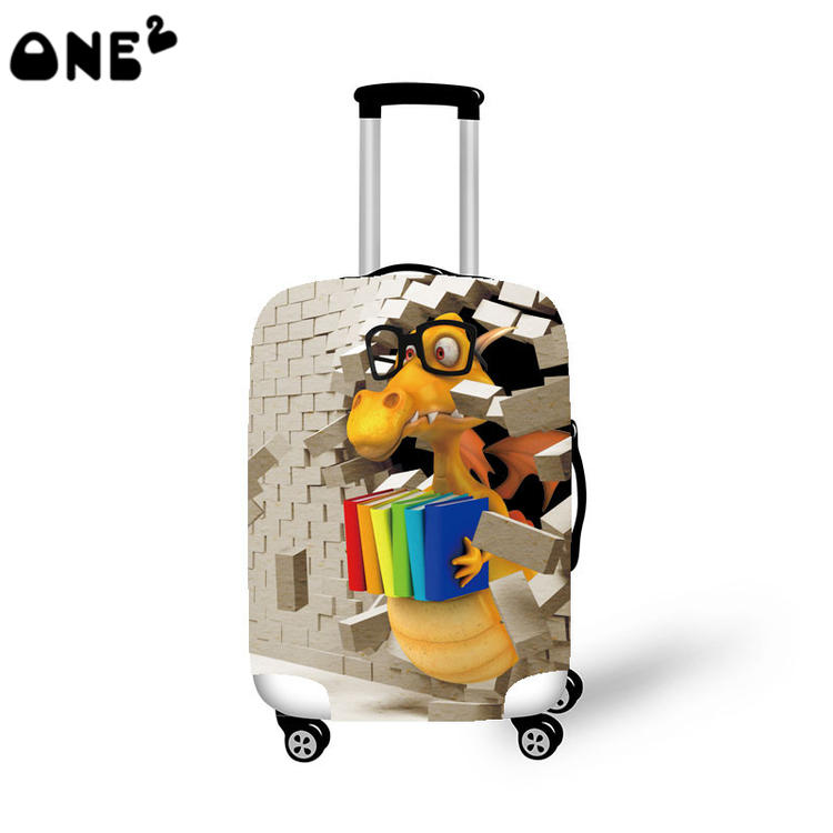 ONE2 CuteFashion 3D Dinosaur Pattern Travel Accessories Clear Luggage Cover Supply For 22 to 26inch Luggage