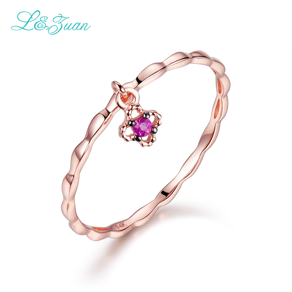 L&zuan Ruby Jewelry Rose Gold Natural Red Stone Small Flower Simple Party Ring Wedding Bands Fine Jewelry For Woman 0012-3