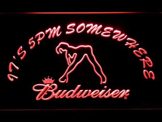 461 It's 5 pm Somewhere Budweiser Dancer LED Neon Sign