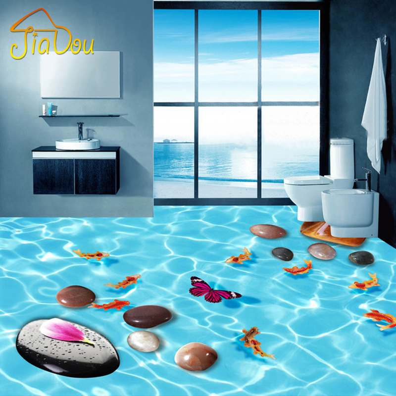 Custom mural floor wallpaper 3d cobblestone fish bathroom for Bathroom floor mural sky