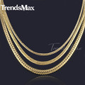 Trendsmax 3/4/5mm Mens Chain Womens Necklace FLAT Close CURB CUBAN Necklace Gold Filled Necklace Fashion Jewelry GNM73