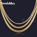 Trendsmax 3/4/5mm mens cadena para mujer de collar cerrar curb plana cubana collar de oro lleno de collar de moda joyería gnm73